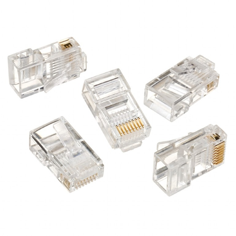 Network Passive  CONNECTOR  Modular plug 8P8C for solid LAN cable CAT5, UTP, 100 pcs per bag
